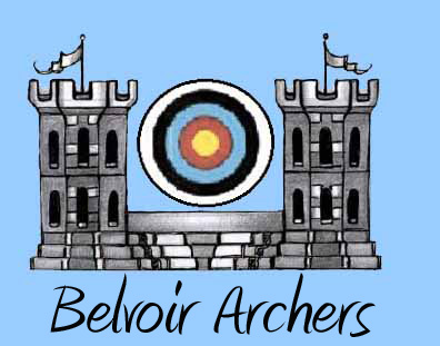 Belvoir Archers logo with blue background and writing